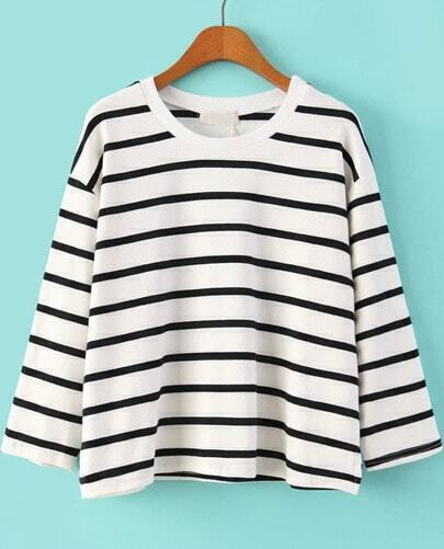 White Long Sleeve Striped Loose T-Shirt