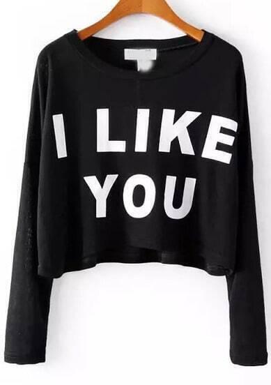 Black Long Sleeve I LIKE YOU Print Crop T-Shirt