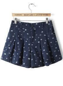 Navy Elastic Waist Stars Print Shorts