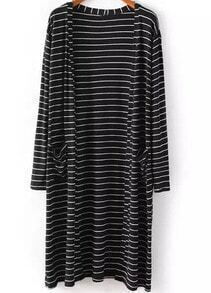Black Long Sleeve Striped Pockets Coat