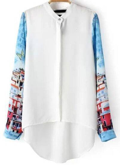 White Long Sleeve House Print Dip Hem Blouse