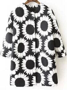 Black Long Sleeve Sunflower Print Coat