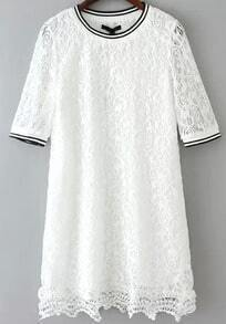 White Short Sleeve Hollow Lace Dress