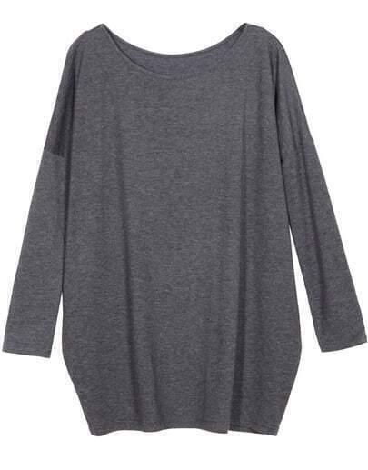Grey Long Sleeve Round Neck Loose T-shirt