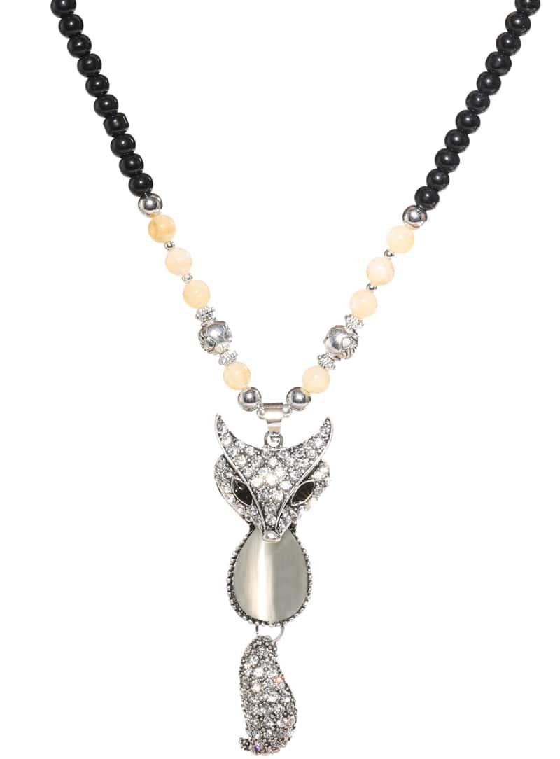 white fox bead pendant necklace shein sheinside