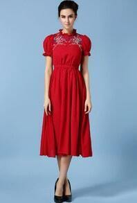Maroon Short Sleeve Embroidered With Belt Dress