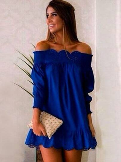 Blue Off The Shoulder Peplum Hem Dress pictures