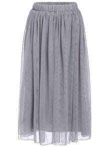 Dark Grey Elastic Waist Multilayers Mesh Skirt