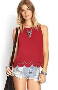 Red Round Neck Hollow Peplum Hem Tank Top