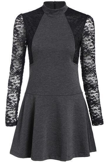 Grey Lace Long Sleeve Ruffle Dress