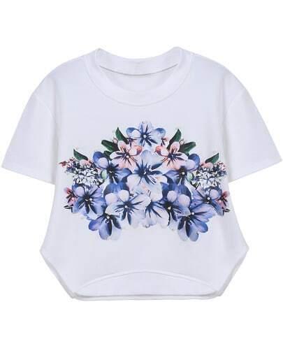 White Short Sleeve Floral Crop T-Shirt