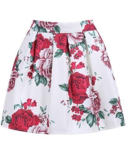 White Peony Print Mini Flare Skirt