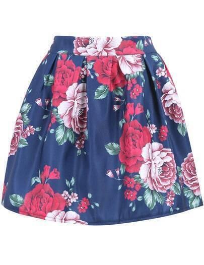 Navy Peony Print Mini Flare Skirt