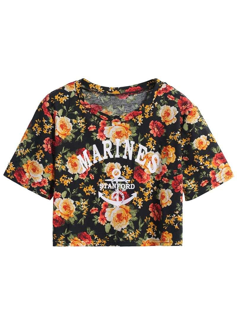 black short sleeve floral marines print crop t shirt. Black Bedroom Furniture Sets. Home Design Ideas