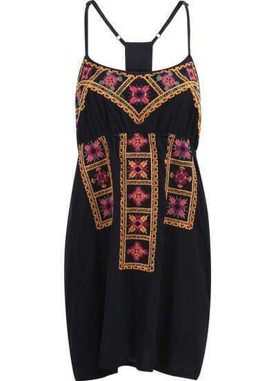 Black Spaghetti Strap Embroidered Backless Slip Dress