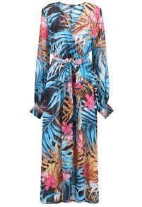 Multicolor V Neck Leaves Print Chiffon Dress