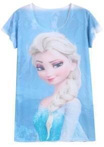 Blue White Short Sleeve Barbie Print T-Shirt