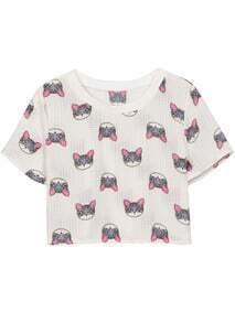 Camiseta Crop coches manga corta-blanco