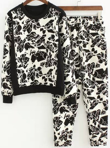 Black White Long Sleeve Floral Top With Pant