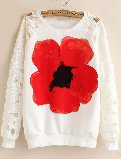 White Hollow Long Sleeve Floral Sweatshirt