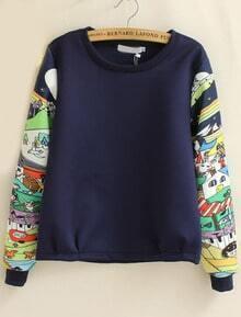 sweat-shirt imprimé dessin animé col rond -bleu marine