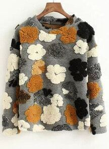 Grey Round Neck Flower Pattern Sweatshirt