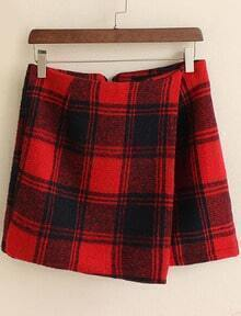Red Plaid Bodycon Skirt