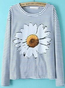 Blue White Long Sleeve Striped Floral T-Shirt