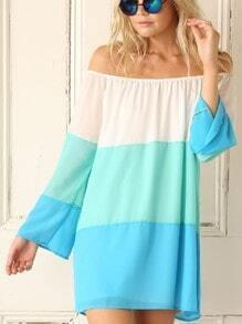 White Blue Off The Shoulder Color Block Dress