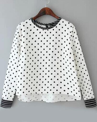 White Polka Dot Striped Dip Hem Polkadots Blouse
