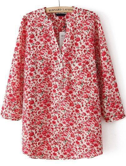 Red V Neck Floral Pockets Blouse