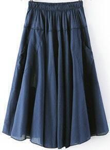Navy Elastic Waist Pleated Skirt