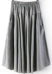Grey Elastic Waist Pleated Skirt