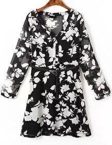 Black V Neck Floral Organza Dress