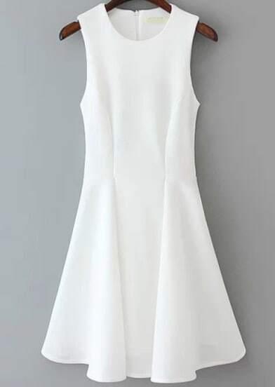 White Sleeveless Slim Ruffle Dress