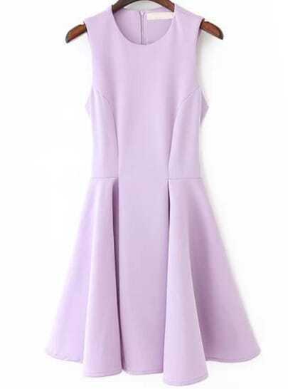 Purple Sleeveless Slim Ruffle Dress