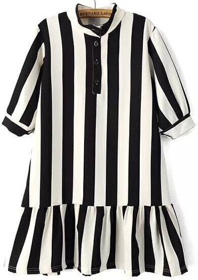 Black White Stand Collar Vertical Stripe Dress