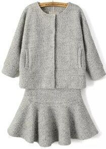 Grey Round Neck Pockets Top With Ruffle Skirt