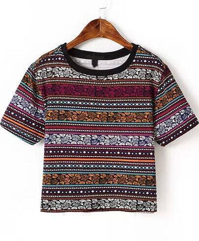 Multicolor Short Sleeve Random Leaves Print T-Shirt