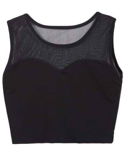 Black Sheer Mesh Crop Tank Top