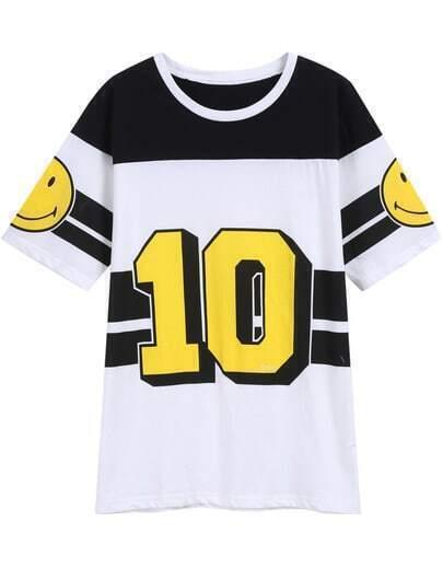 Black White Short Sleeve Smile 10 Print T-Shirt