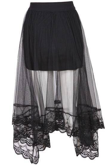 Black Elastic Waist Embroidered Hem Mesh Skirt