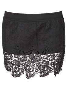 Black Hollow Lace Crochet Shorts