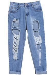 Blue Button Flange Ripped Denim Pant