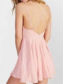Pink Spaghetti Strap Cross Back Dress