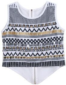 White Round Neck Geometric Print Rivet Tank Top