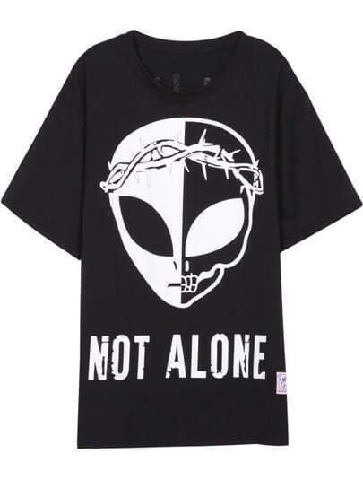 Black Short Sleeve Extraterrestrial NOT ALONE Print T-Shirt