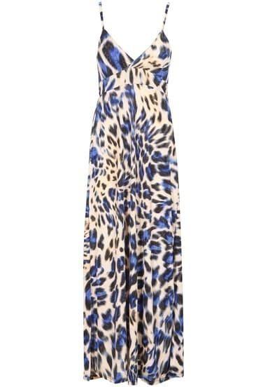 Blue Spaghetti Strap Leopard Maxi Dress