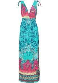 Turquoise V Neck Sleeveless Floral Maxi Dress