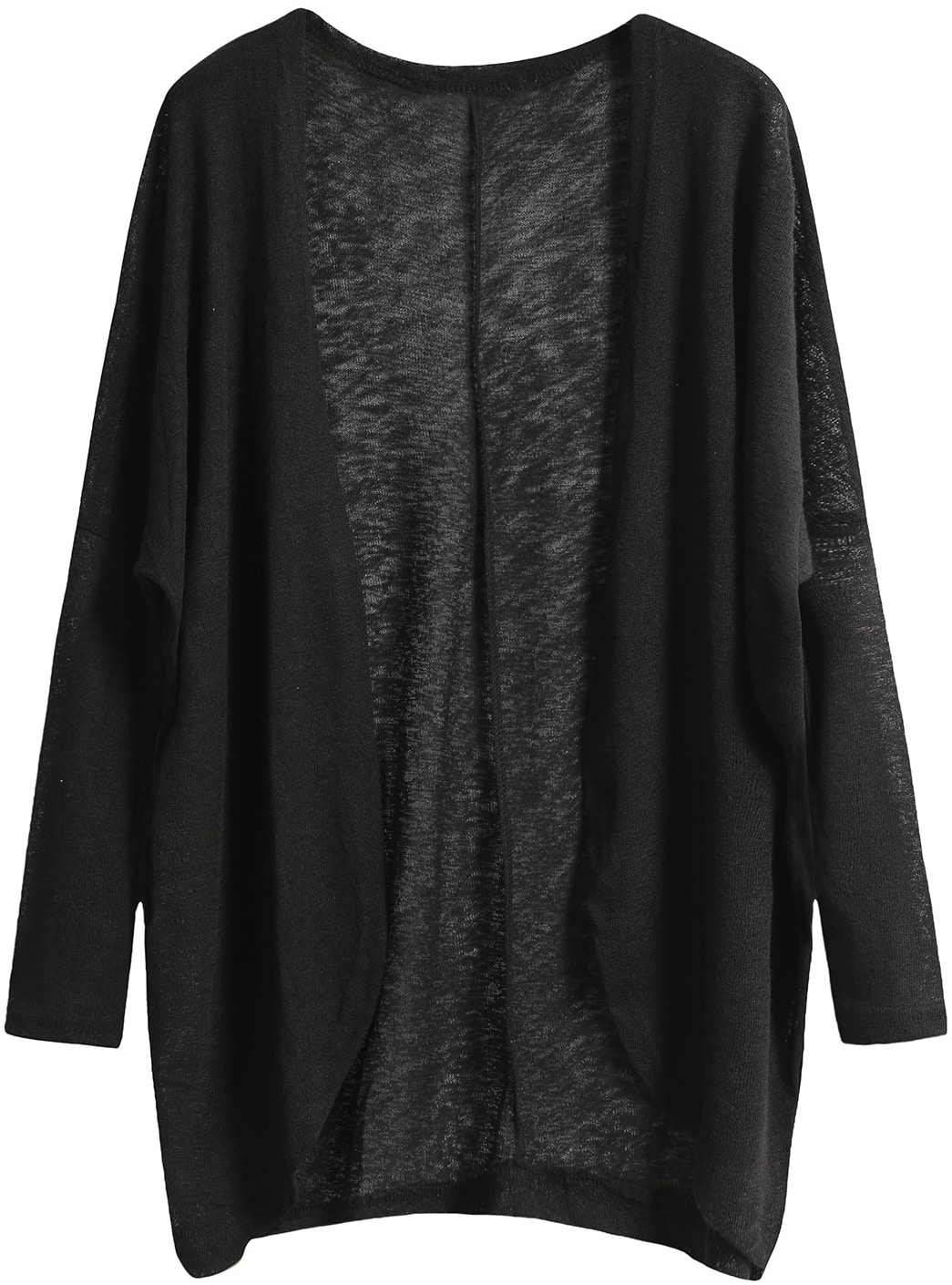 6e764949c Black Long Sleeve Loose Knit Cardigan -SheIn(Sheinside)